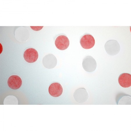 Round confetti in white and red made of tissue paper, 20 gr, diameter 2cm