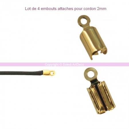 Lot de 4 attaches pour cordon bijoux, 4 mm
