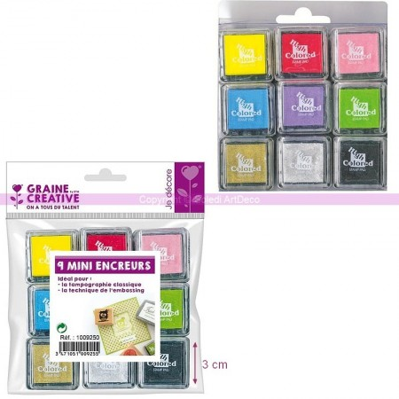 Kit de 9 Compartiments encreur 3,5cm x 3,5cm, couleurs, assorties, pour le Scrapbooking