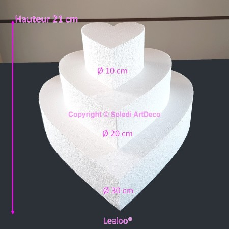 Polystyrene Disk Shape Dummy Cake, 20 cm total height, 30 cm base diameter
