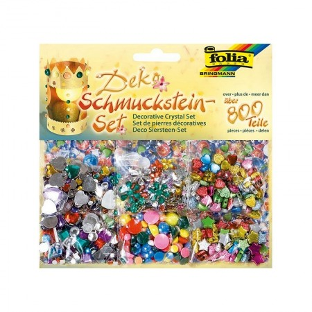 Set of decorative stones and multicolored beads, 800 pcs, for scrapbooking and customization