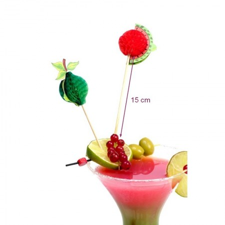 Piques en bois décoratives Fruits 3D, Pic de cocktail, 15 cm, lot de 12