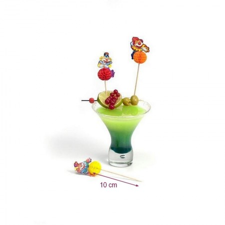 Piques en bois décoratives Clowns3D, Pic de cocktail, 10 cm, lot de 12