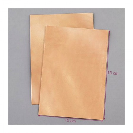 Set of 2 Copper foil cutouts 100 x 150 mm x 0,1 mm, for enamelling and decorating