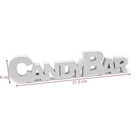 CandyBar wooden table decoration White, 21x 1,5x 6 cm, for birthday babyshower