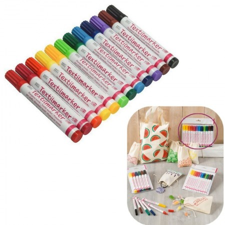 Set of 6 Assorted Color Markers for Textile, Round Toe Felt 2-4 mm for Fabric