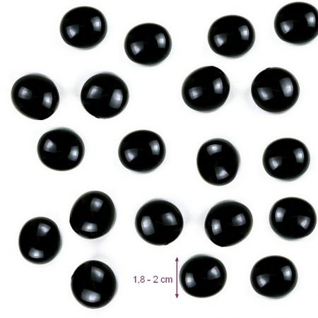 Nuggets glass pebble Black Opaque, solid and smooth, 18 to 20 mm, ep. 8 to 10 mm, 100 g approximately 20p