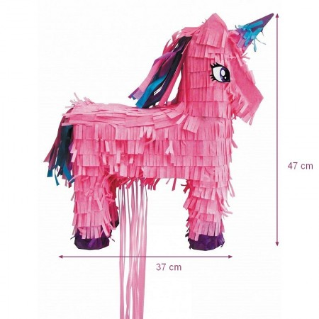 White Pegasata Pinata, 47 x 37 x 13 cm, for birthday or babyshower, sold empty, horned horse