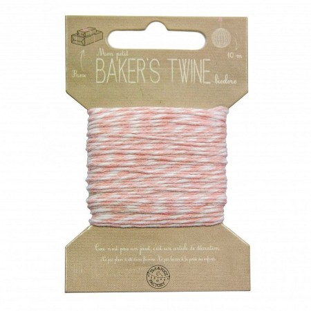 Cord of white and red thread, diam. 1 mm, length 10 meters, string for scrapbooking