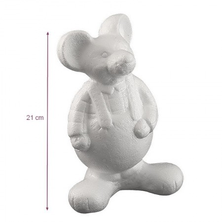 Standing dressed mice made of polystyrene, size 21 x 13 cm, to customize and decorate