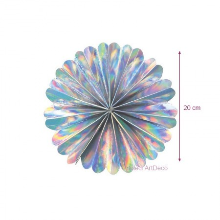 Large Fan Holographic effect, diam. 53 cm, iridescent hanging decoration birthday party