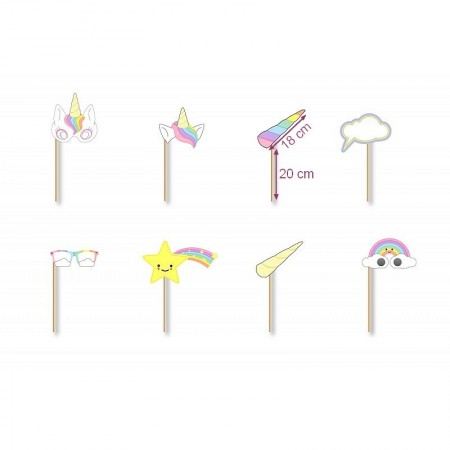 Set of 8 Unicorn Accessories for Photobooth, about 38 cm, cardstock, for birthday party