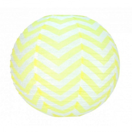 Japanese Lantern Zigzag Pale Pink and White 35 cm, Chinese Ball Chevron Hanging Paper