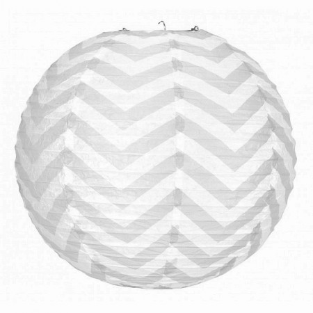 Japanese lantern Zigzag pastel yellow and White 35 cm, Chinese ball Chevron hanging paper