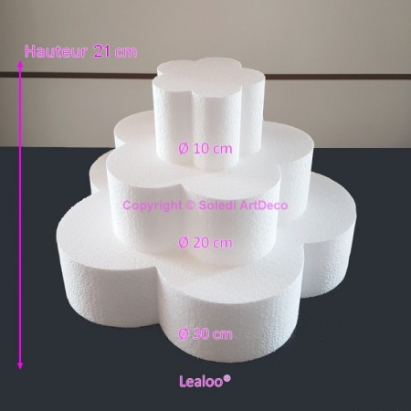 Polystyrene Disk Shape Dummy Flower Cake, 21 cm total height, 30 cm base diameter