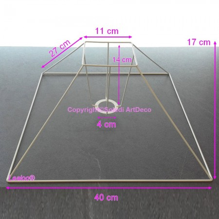 Pyramid Lampshade frame short 30x8x20 cm, Armature square bottom 4 branches anticorrosive epoxy, for E27