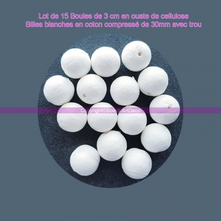 Pack of 15 balls of 3 cm in cellulose wadding, white balls in compressed cotton of 30mm with hanging hole