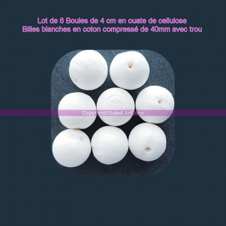 Pack of 8 balls of 4 cm in cellulose wadding, white balls in compressed cotton of 40mm with hanging hole