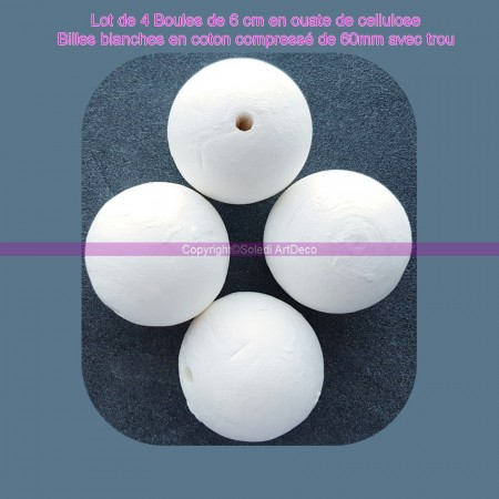 Pack of 5 balls of 5 cm in cellulose wadding, white balls in compressed cotton of 50mm with hanging hole