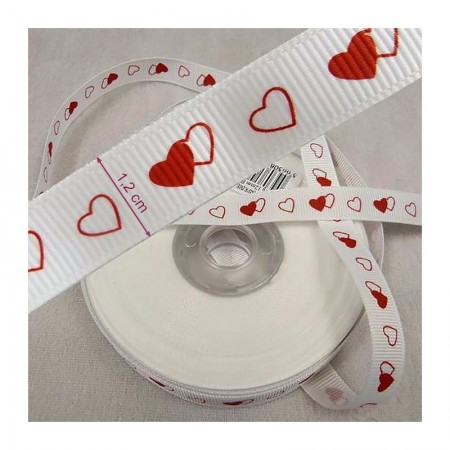 White Printed Red Satin Ribbon, 25m x 12mm, Baptism and Wedding Ceremony