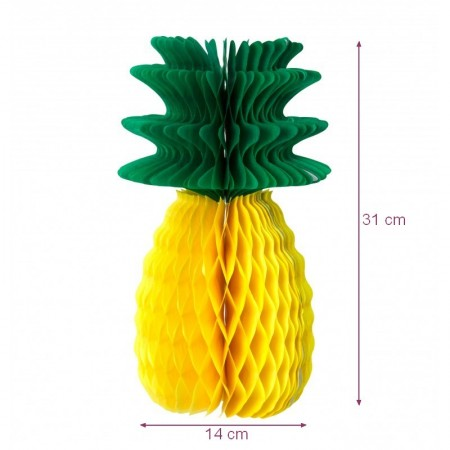 Pineapple honeycomb neon pink and green, h.30 cm, summer and exotic decoration