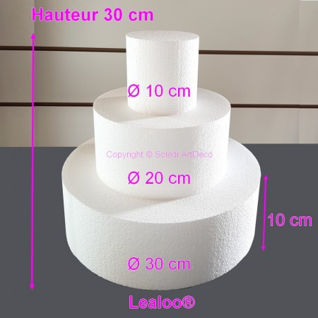 Polystyrene Disk Shape Dummy Cake, 21 cm total height, 30 cm base diameter