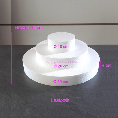 Small square mounted piece made of polystyrene 12cm high, Base Dimension 30cm to 10cm, 3 bases of 4cm high