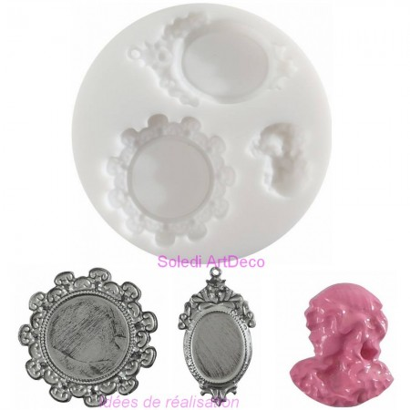 Silicone mold 7cm diameter, large XXL button 5cm in diameter, extra flexible shape for polymer clay
