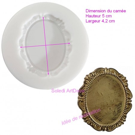 Silicone mold 7cm diameter, 2 cameos and face, extra flexible shape for polymer clay