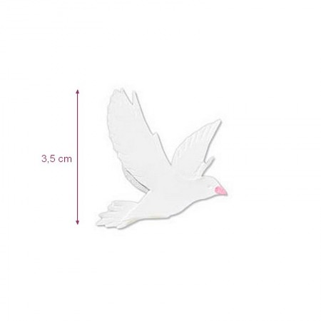 Sticker sticker relief Colombe Blanche, 3,5 cm dim, to decorate wedding card or baptism