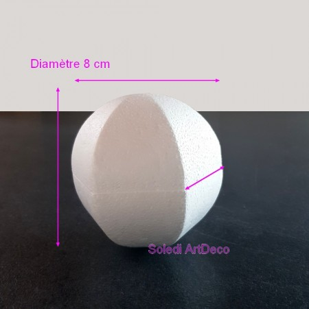 Hexagonal sphere Diameter 10 cm in polystyrene, 6-sided ball in white styrofoam