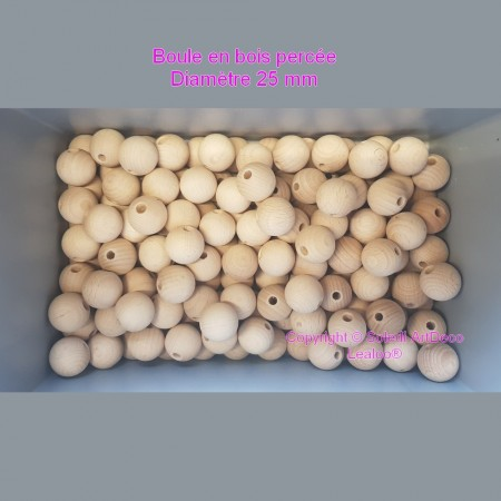 Set of 500 drilled balls made of beech wood, diameter 20 mm, hole 4 mm