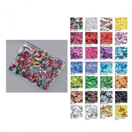 Lot of approx. 100,000 Sequins, rounded round, ø 6 mm, 1 kilo Sequins sewing