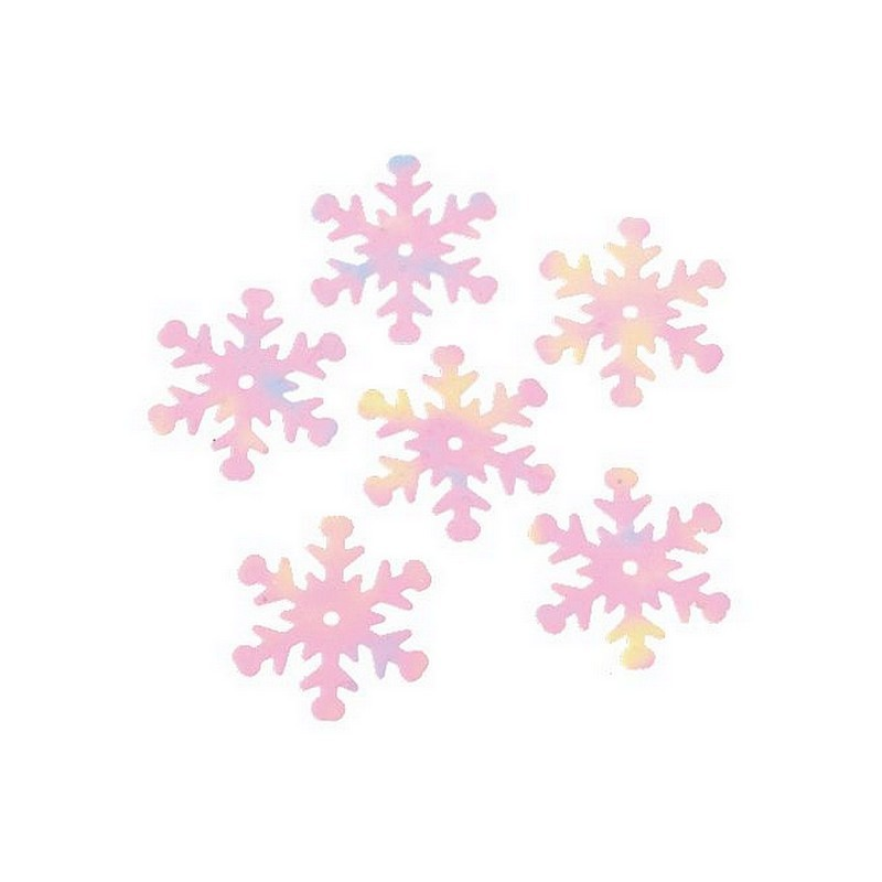 Lot de 50 sequins flocons de neige de 28 mm de diamètre, confettis déco de Noël