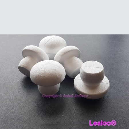 Batch of 5 Polystyrene bulging mushrooms, height 7.5 cm, to decorate