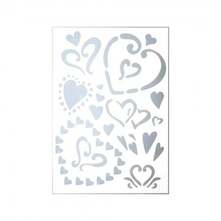 Plastic stencil 15x21cm, 19 Hearts from 1cm to 8cm, different sizes