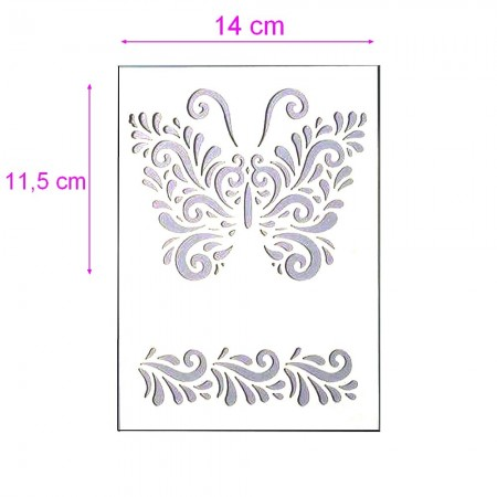 Stencil, Plastic Board 15x21cm, Large Butterfly 14x11,5 cm and Frieze, for Scrapbooking