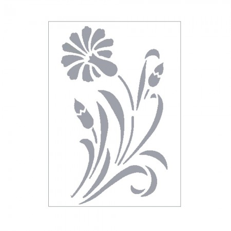 Stencil, Plastic Board 15x21cm, Large Flower 20cm x 12cm, for Scrapbooking