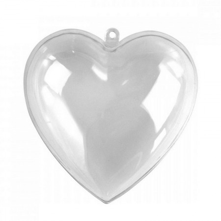 Transparent plastic heart, separable, 14cm, for self-filling