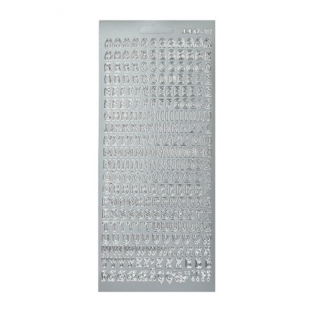 Tiny Alphabet and Numbers Outline Sticker Silver, Plank 10 x 23 cm, peel off stickers for scrapbooking