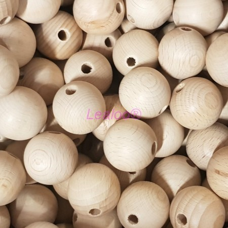 Set of 25 drilled balls made of beech wood, diameter 50 mm, hole 8 mm