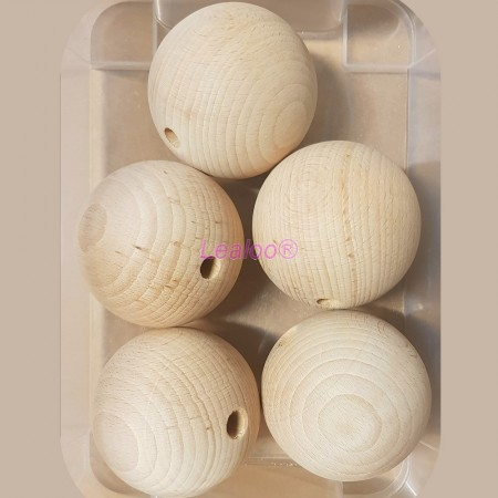 Set of 5 big drilled balls made of beech wood, diameter 80 mm, hole 10 mm