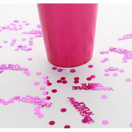 Joyeux anniversaire Glitter, Fuchsia Pink, to be scattered, Long. 5mm and 4cm, Confetti bag of 18g