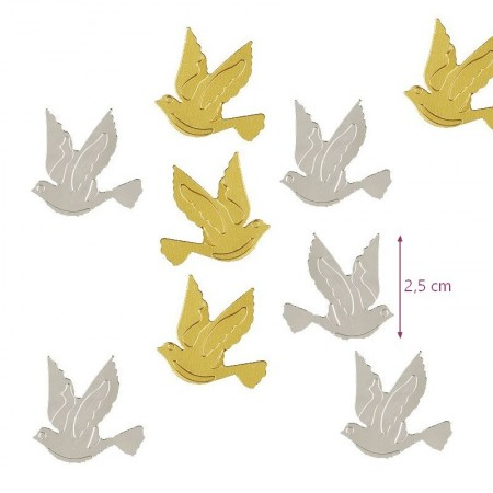 Sequins Silvery and golden doves, confetti for spreading or sticking, long. 2.5 cm, bag of 20 g