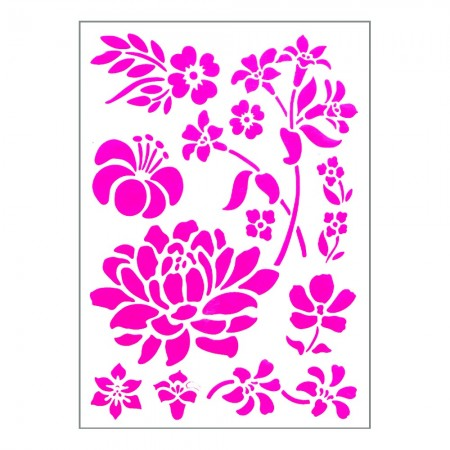 Stencil, Plastic Board 15x21cm, 10 Flowers from 2.5cm to 11.5cm, for Scrapbooking