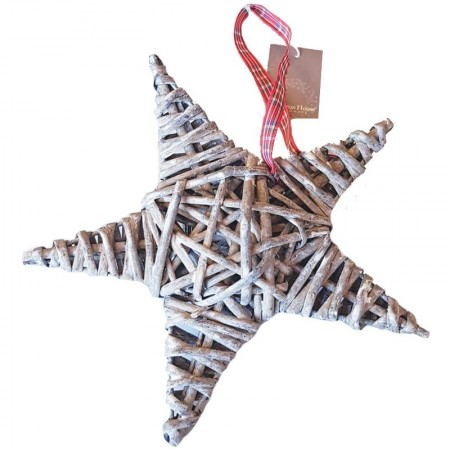 Medium Gray Rattan Star, checkered ribbon, size 15 cm, Christmas decoration to hang
