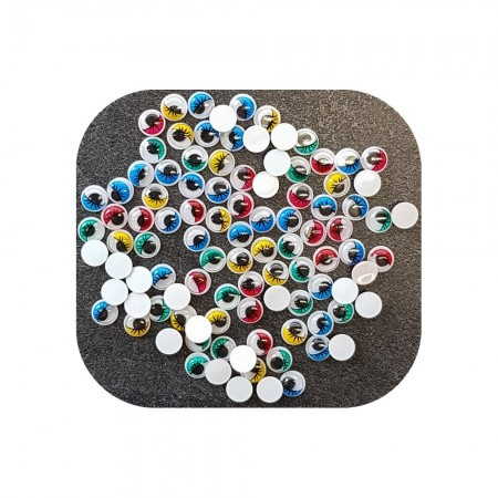 Lot of 100 Wobbly round eyes, diameter 6 mm, mobile pupil, 5 assorted colors, plastic, to stick