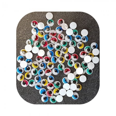 Lot de 100 Yeux ronds, diam. 8 mm, à pupille mobile, 5 couleurs assorties, en plastique, 50 paires avec cils à coller