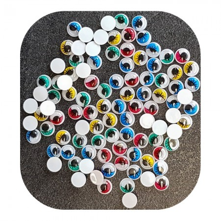 Lot de 100 Yeux ronds, diam. 10 mm, à pupille mobile, 5 couleurs assorties, en plastique, 50 paires avec cils à coller