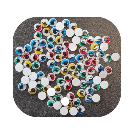 Lot of 100 Wobbly round eyes, diameter 12 mm, mobile pupil, 5 assorted colors, plastic, to stick